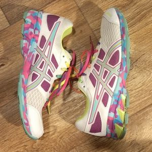 ASICS GEL FRANTIC 7 WHITE RAINBOW RUNNING SHOES